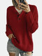 Women Solid Color Button Loose Long Sleeve Casual Sweater - Red