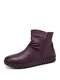 SOCOFY Solid Color Folds Soft Cowhide Leather Comfy Soft Sole Flat Short Boots - Purple