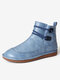 Womens Stitching Slip On Solid Color Slip Resistant Winter Ankle Boots - Blue