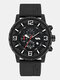Large Dial Men Business Watch Decorated Pointer Waterproof Sports Quartz Watch - Black