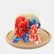 Retro Embroidery Big Brim Hat Half-top Hollow Breathable Ladies Beach Hat Folding Hat - #04