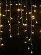 Guirnalda de Navidad LED Cortina Cadena de luces de carámbano Guirnalda Luz de hadas de Navidad al aire libre Decoración de fiesta - Blanco cálido