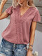 Lace Patchwork Solid Color V-neck Short Sleeve Blouse for Women - Cameo Red