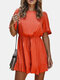 Solid Color Ruffled Short Sleeves Casual Jumpsuit For Women - Orange