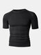 Men Stitching Compression Thermal Undershirt T-Shirt Breathable Elastic Breathable Workout Track Tops - Black