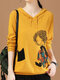 Cartoon Gril Printed Long Sleeve Hooded Sweater For Women - Yellow