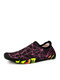 SOCOFY Quick-drying Stretch Cloth Comfy Breathable Drainage Water Shoes Upstream Shoes Swimming Diving Slip On Socks Sneakers - Black Rose