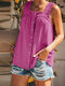 Solid Color Straps Sleeveless Button Pleated Tank Top - Purple