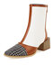 Plus Size Women Fashion Casual Pointed Toe Back-zip Block Heel Boots - White