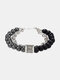 Punk Alloy Frosted Stone Chain Bracelet - #09