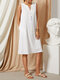 Solid Color Multi-color Button V-neck Sleeveless Casual Dress For Women - White