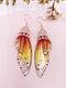 Vintage S925 Sterling Silver Butterfly Long Cicada Wings Gradient Earrings - 15