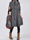 Solid Color Long Sleeve High Neck Patchwork Coat For Women - Gray