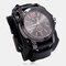 Bracelet en cuir de vache cousu à la main double couche vintage Watch grand cadran hommes Quartz Watch - Noir