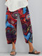 Graffiti Printed Elastic Waist Casual Plus Size Pants for Women - Red