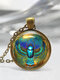 Vintage Ancient Egyptian Animal Women Necklace Alloy Glass Printed Pendant Sweater Chain - Bronze