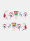 Green Plant Flower Butterfly Pattern Nail Sticker Painting Style Watermark Nail Sticker - #07