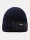 メンズレターパターンPlus厚手の冬は暖かく防風ニット帽を保つ - ネービー