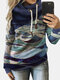 Print Contrast Color Patchwork Long Sleeve Hoodie For Women - Blue