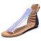 LOSTISY Pailletten Peep Toe Zipper Flache Beiläufige Gladiator Sandalen