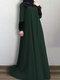الصلبة اللون الدانتيل المرقعة فستان مسلم سوينغ كبيرة للنساء - أخضر
