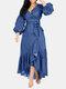 ベルトフリルデニムドレス付きパフスリーブVネック - 青い