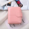 Women PU Leather Multi-card Slots Photo Card Money Clip Wallet - Pink