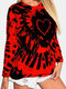 Tie-dye Printed O-neck Long Sleeve T-shirt For Women - Red