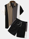 Mens Knit Wide Striped Stitching Zip Golf Shirt Casual Two Pieces Outfits - Black