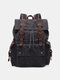 Men Retro Outdoor Waterproof Genuine Leather Canvas Patchwork Hiking Travel Backpack - Gray