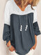 Lace Patchwork V-neck Long SleeveElastic Cuff Casual Blouse - Grey
