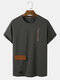 Mens Letter Embroidery Short Sleeve T-Shirt With Flap Pocket - Grey