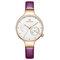 Waterproof Elegant Women Wrist Watch Genuine Leather Strap Quartz Watch - Purple