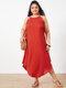 Summer Solid Color Spaghetti Straps Plus Size Maxi Dress - Red