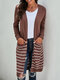 Striped Pocket Long Sleeve Casual Cardigan For Women - Brown