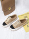 Women Casual Short Plush Lace-up Warm Lining Skate Shoes - Apricot