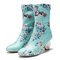 Women Comfy Stylish Embroidered Flowers Cloth Elastic Slip On Chunky Heel Short Boots - Blue