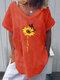 T-shirt casual da donna a maniche corte con stampa di fiori di farfalla - Rosso