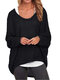 Casual Asymmetrical Solid Color Plus Size Blouse for Women - Black