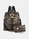 Stylish Cow Leopard Print Multi-Carry Waterproof Breathable Comfy Fabric Load-bearing Backpack With Clutch Wallet - #01