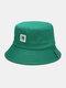 ユニセックスコットンNレターパターンパッチ無地シンプルバケットハット - 緑