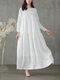 カジュアルソリッドカラーAラインルーズロングスリーブPlusサイズドレス - 白い