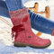 Large Size Women Winter Snow Strappy Block Heel Mid Calf Boots - Red1