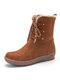 Women Winter Suede Plush Lined Stitching Side Zipper Lace Up Flat Short Boots - Brown