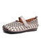 SOCOFY Vintage Handmade All-leather Cutout Stitching Hook Loop Strap Flat Shoes - Beige