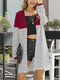 Striped Patchwork Long Sleeve Casual Cardigan For Women - Red