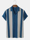 Mens Colorblock Stitching Knitted Revere Collar Short Sleeve Shirt - Blue