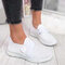 Large Size Mesh Hollow Out Brathable Hook Loop Walking Sneakers For Women - White