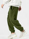 Mens Fleece Solid Color Drawstring Thick Plush Jogger Pants - Green
