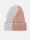 Unisex Knitted Color-match Irregular Patchwork All-match Warmth Beanie Hat - Pink+Gray